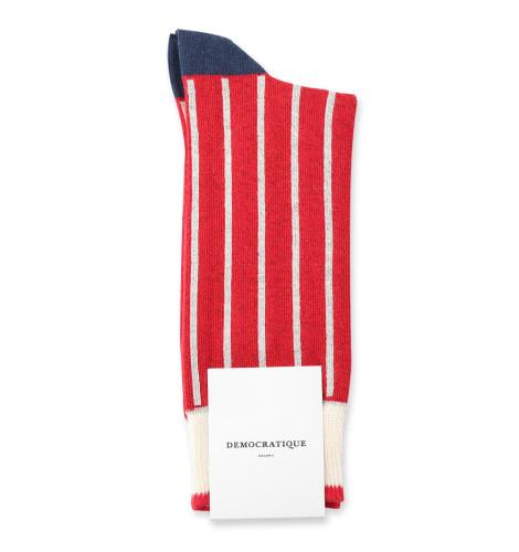 Democratique Socks Originals Latitude Thin Stripes 6-pack Off White / Light Rosso / Shaded Blue