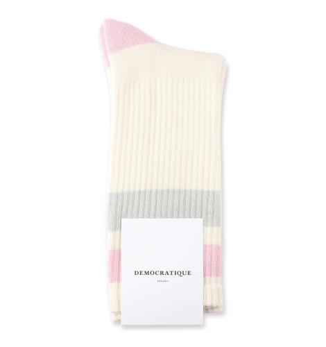 Democratique Socks Athletique Classique Stripes 6-pack Off White / Soft Grey / Pale Pink