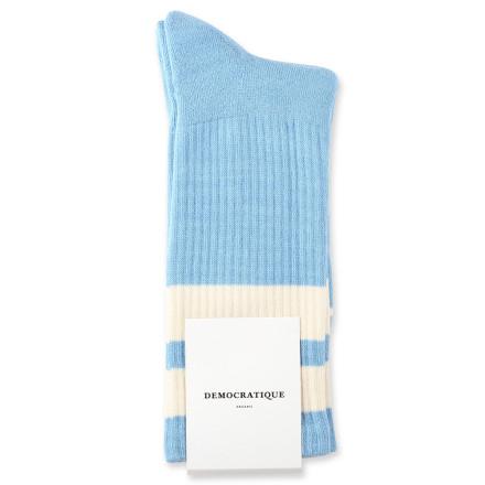 Democratique Socks Athletique Classique Stripes 6-pack Palm Springs Blue / Off White
