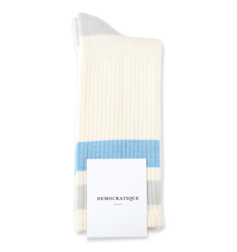 Democratique Socks Athletique Classique Stripes 6-pack Off White / Soft Grey / Palm Spring Blue