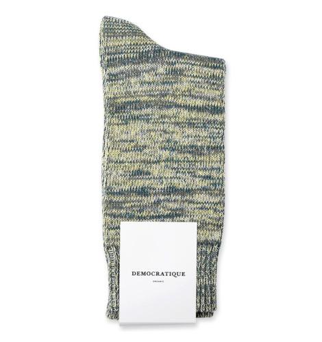 Democratique Socks Relax Chunky Flat Knit Supermelange 6-pack Army / Off White / Benzin / Shaded Yellow