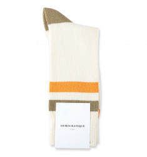 Democratique Socks Relax Heavy Stripe Knit Supermelange 6-pack Off White / Soil / Soft Orange