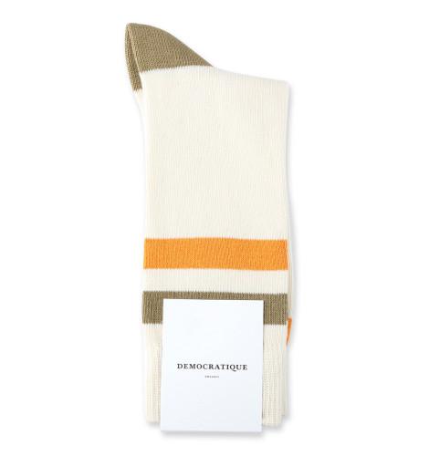 Democratique Socks Relax Lighter Stripe Knit Supermelange 6-pack Off White / Soil / Soft Orange