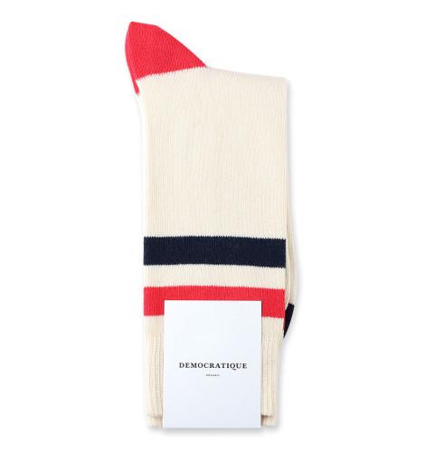 Democratique Socks Relax Lighter Stripe Knit Supermelange 6-pack Off White / Spring Red / Navy