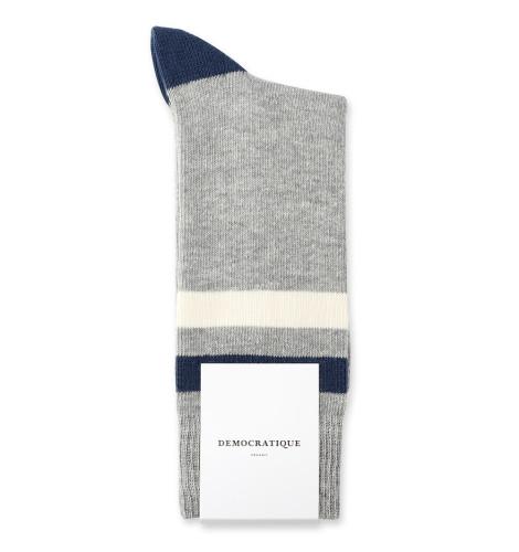 Democratique Socks Relax Heavy Stripe Knit Supermelange 6-pack Light Grey Melange / Off White / Shaded Blue