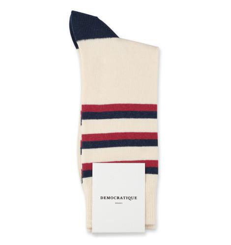Democratique Socks Originals Fine Stripes 6-pack Off White / Shaded Blue / Light Rosso