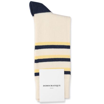 Democratique Socks Originals Fine Stripes 6-pack Off White / Shaded Blue / Pale Yellow