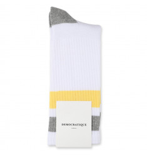 Democratique Socks Athletique Classique Stripes 6-pack Clear White / Shaded Yellow / Light Grey Melange