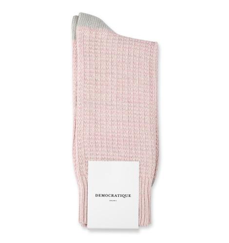 Democratique Socks Relax Waffle Knit Supermelange 6-pack Off White / Pale Pink / Soft Grey