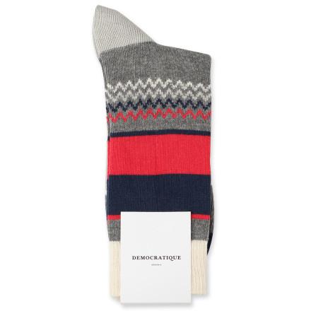 Democratique Socks Relax Pattern Knit Supermelange 6-pack Light Grey Melange / Off White / Spring Red / Shaded Blue / Soft Grey