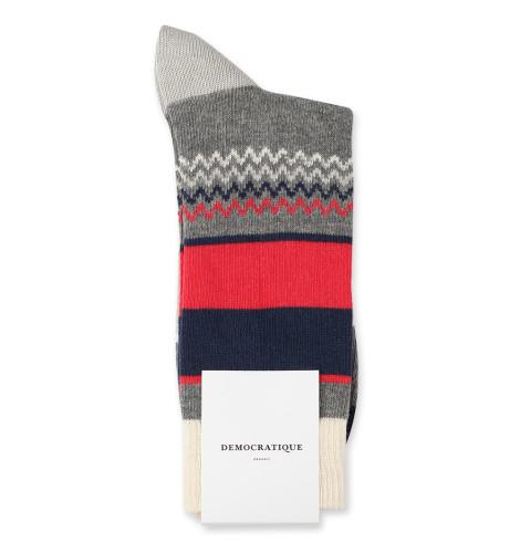 Democratique Socks Relax ZigZag Block Knit 6-pack Light Grey Melange / Off White / Spring Red / Shaded Blue / Soft Grey