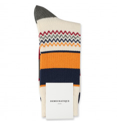 Democratique Socks Relax ZigZag Block Knit 6-pack Off White / Soil / Army / Soft Orange / Shaded Blue / Light Rosso