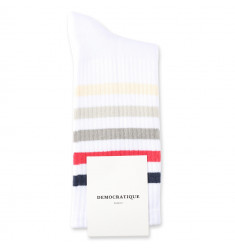 Democratique Socks Athletique Classique Super Stripes Clear White / Shaded Blue / Spring Red / Stone / Soft Grey / Off White