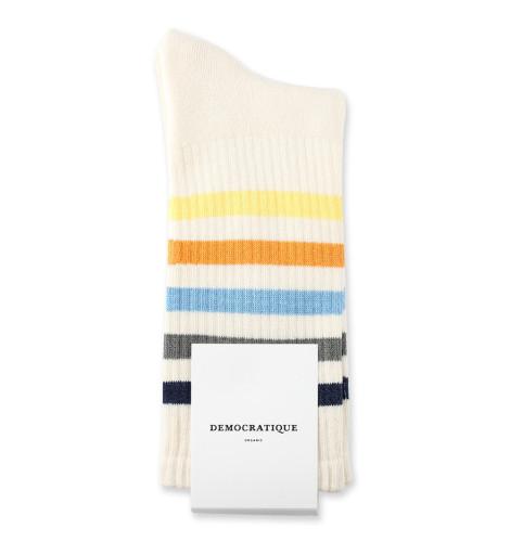 Democratique Socks Athletique Classique Super Stripes Off White/Shaded Blue/Army/Palm Springs Blue/Soft Orange/Pale Yellow