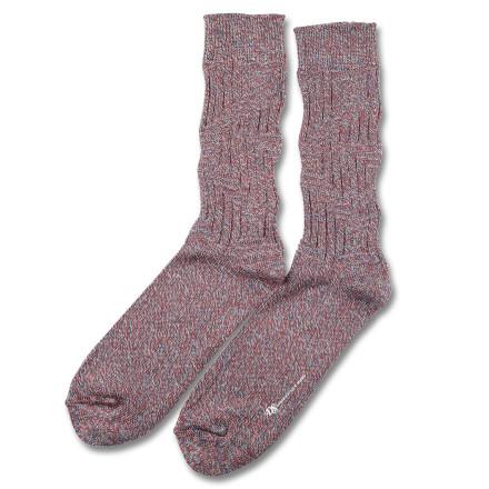 Democratique Socks RELAX ZIGZAG KNIT SUPERMELANGE  Off White / Rust / Charcoal / Petroleum Blue